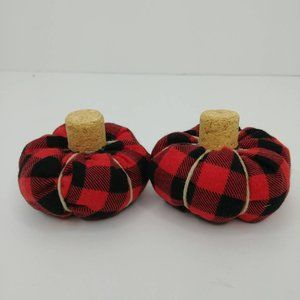 Mini red and black buffalo plaid stuffed pumpkins